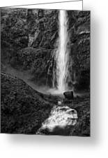 Multnomah Falls In Black And White Greeting Card