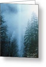 Multnomah Falls Through The Clouds Greeting Card