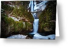 Multnomah Falls With Snow Greeting Card