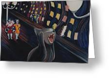Munch's Cat--the Scream Greeting Card by Eve Riser Roberts