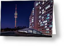 Munich - Olympictower And Village Greeting Card