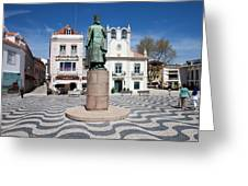 Municipal Square In Cascais Portugal Greeting Card