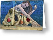 Mural Of A Woman In A Fruit Dress Greeting Card