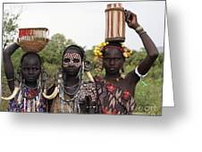 Mursi Tribesmen In Ethiopia Greeting Card
