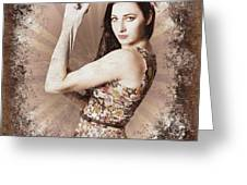 Muscle And Strength Pinup Poster Girl Greeting Card