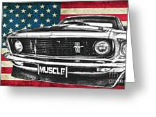 Muscle Us Mustang Greeting Card