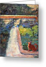 Museum Cat Enters The Picture After Georges Seurat Greeting Card