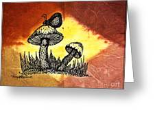 Mushroom And Butterfly Greeting Card