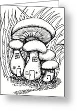 Mushroom Fairy Houses And Grass Greeting Card