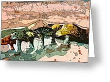 Mushroom Rows Greeting Card