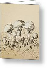 Mushrooms On Toned Paper With Charcoal Greeting Card