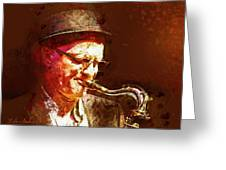 Music - Jazz Sax Player With A Hat Greeting Card