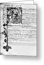 Music Manuscript, 1450 Greeting Card