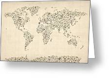 Music Notes Map Of The World Map Greeting Card by Michael Tompsett