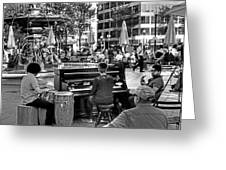 Music On The Boston Common Boston Ma Black And White Greeting Card