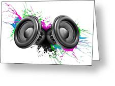 Music Speakers Colorful Design Greeting Card