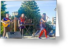 Musical Entertainers In Central Park In Bariloche-argentina Greeting Card