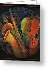 Musical Mandala - Features Cello And Sax's Greeting Card