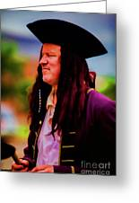 Musician In Pirate Hat And Dreadlocks - In Watercolor Photo Greeting Card