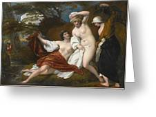 Musidora And Her Two Companions Sacharissa And Amoret At Their Bath Espied By Damon Greeting Card