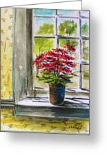 Musing-gerberas At The Window Greeting Card