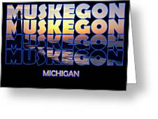 Muskegon Channel Sunset Greeting Card