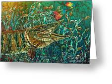 Musky- Chasin Greeting Card by Sue Duda