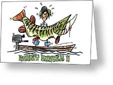 Musky Hunter - Cartoon Greeting Card by Peter McCoy