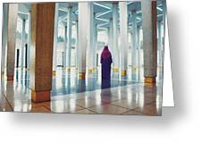 Muslim Woman Dressed In The Traditional Islam Clothing Standing Inside National Mosque In Malaysia Greeting Card