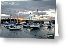 Musselburgh Marina In The Sunset. Greeting Card