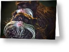 Mustached Monkeys Emperor Tamarins  Greeting Card