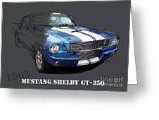 Mustang Shelby Gt-350, Blue And White Classic Car, Gift For Men Greeting Card
