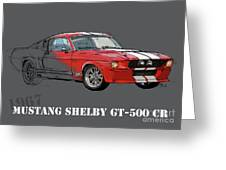 Mustang Shelby Gt500 Red, Handmade Drawing, Original Classic Car For Man Cave Decoration Greeting Card