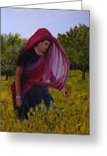 Mustard Fields Of India Greeting Card