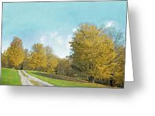 Mustard Yellow Trees And Landscape Greeting Card
