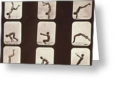 Muybridge Locomotion Back Hand Spring Greeting Card by Photo Researchers
