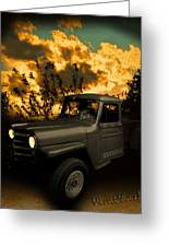 My 51 Willys Jeep Pickup Truck At Sunset Greeting Card