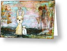 My Best Friend Baby Rabbit Baby Owl Abstract Art  Greeting Card