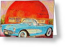 My Blue Corvette At The Orange Julep Greeting Card
