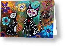 My Cats Dia De  Los Muertos Greeting Card