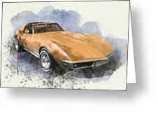 Orange Dream Car Greeting Card