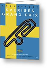 My F1 Anderstorp Race Track Minimal Poster Greeting Card