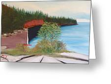 My Kayak Sitting On The Beach At Split Rock Greeting Card