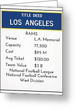 My Nfl Los Angeles Rams Monopoly Card Greeting Card