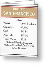 My Nfl San Francisco 49ers Monopoly Card Greeting Card