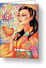 Kimono Flower Greeting Card