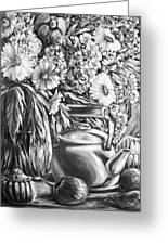 My Tea Kettle Black And White Greeting Card