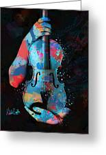 My Violin Whispers Music In The Night Greeting Card by Nikki Marie Smith