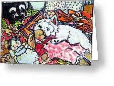 My Westie Milly And Her Toys Greeting Card