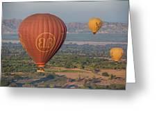 Myanmar. Bagan. Hot Air Balloons. In The Air. Greeting Card